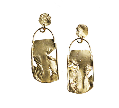 Two Clouds Above Nine - Rectangular Dangle Statement Earring
