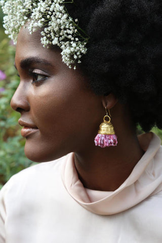 In the Spirit Bamboo Pom Pom Earrings - Yellow or Rasberry Ombre