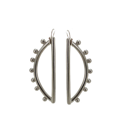 Sample Sale -Silver Colored Small Half Moon Dangle Earring