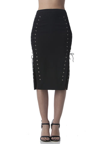 Drawstring Pencil Skirt