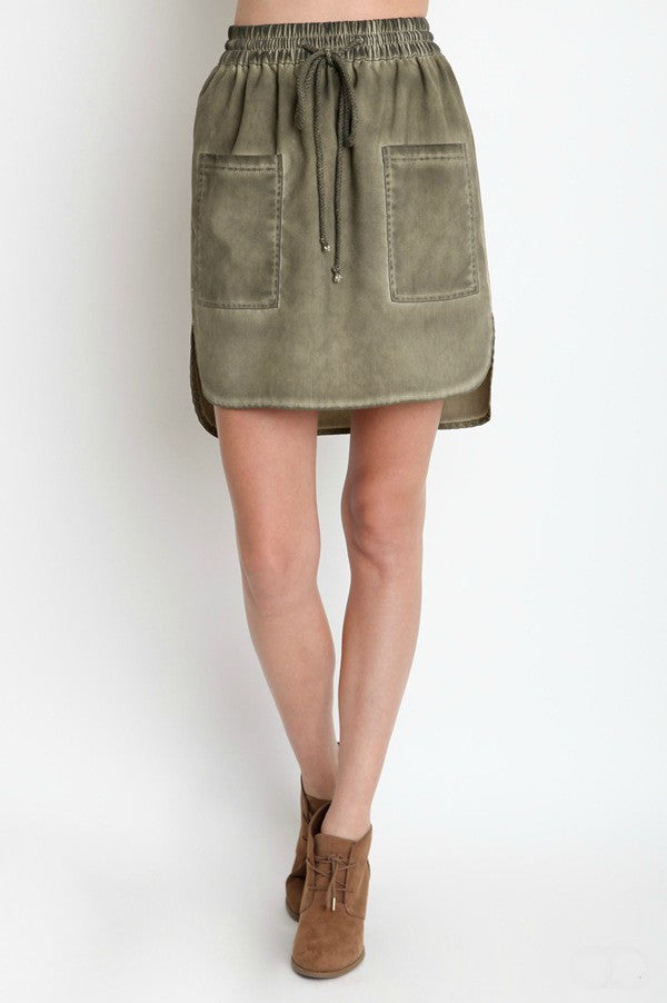 Distressed Tie Waist Skirt