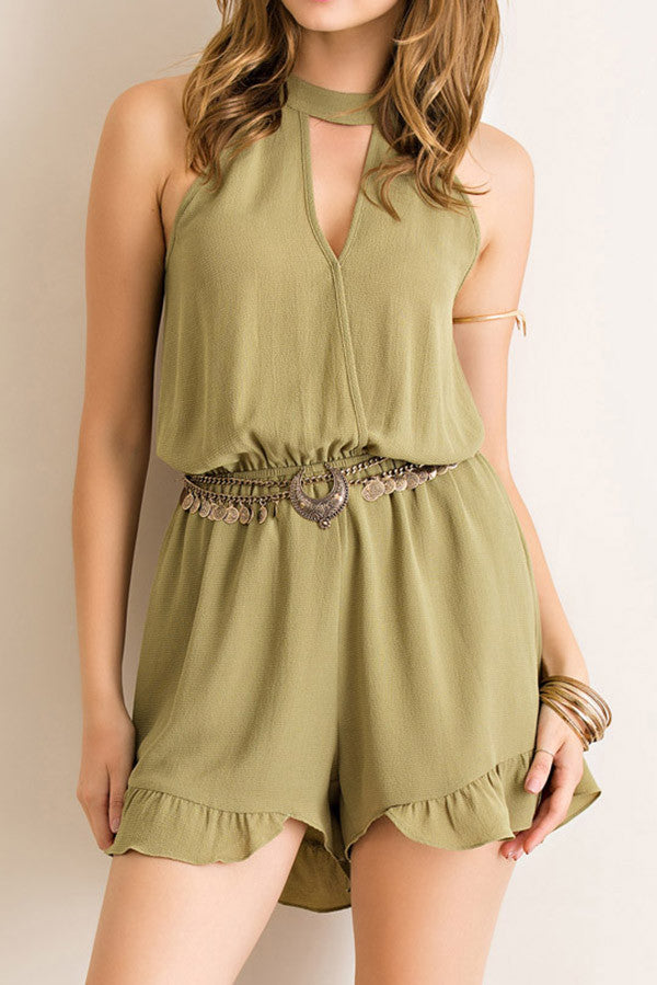 SOLID CREPE MOCK NECK ROMPER