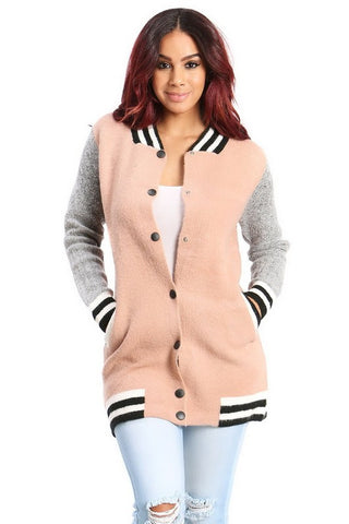 Heather Two-Tone Pink Long Jacket