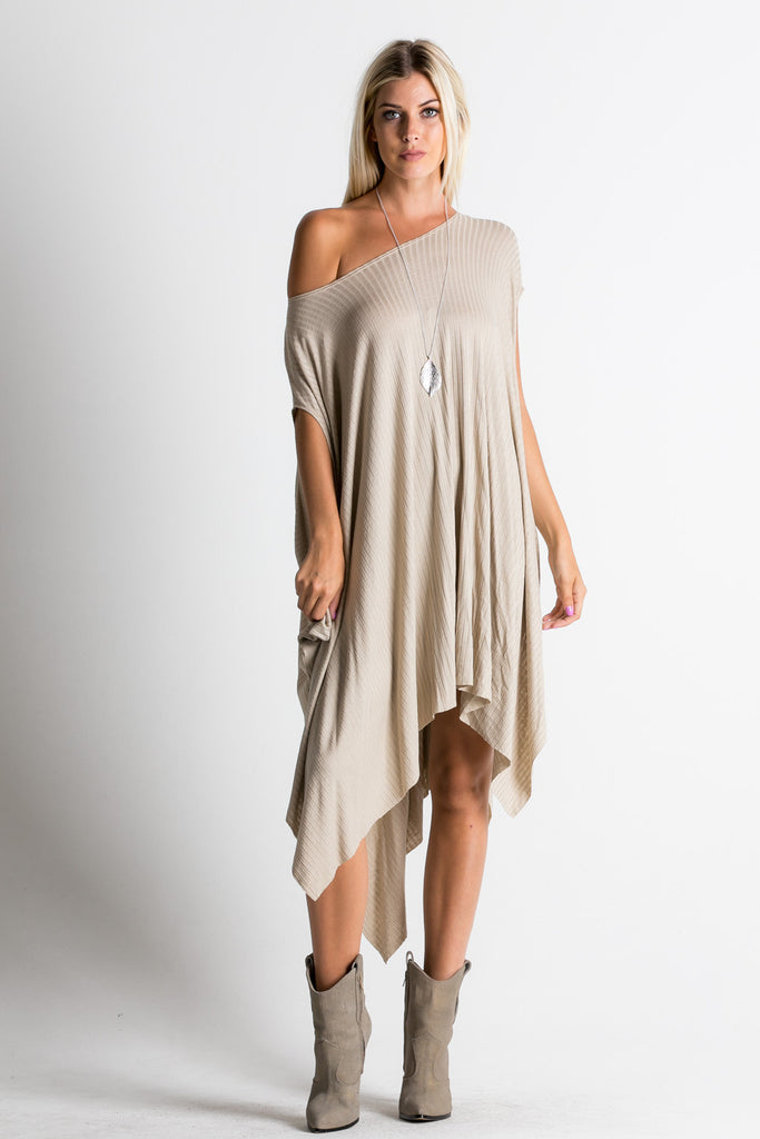 RIBBED JERSEY KNIT OFF SHOULDER DRESS