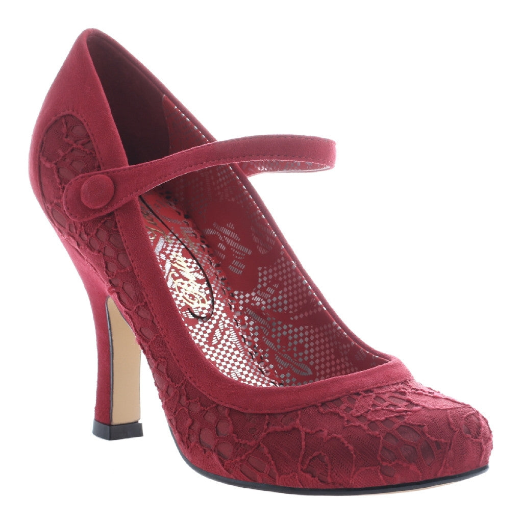 "Grape Red ""Feminine Encounters"" Retro Lace Pin-Up Heels"