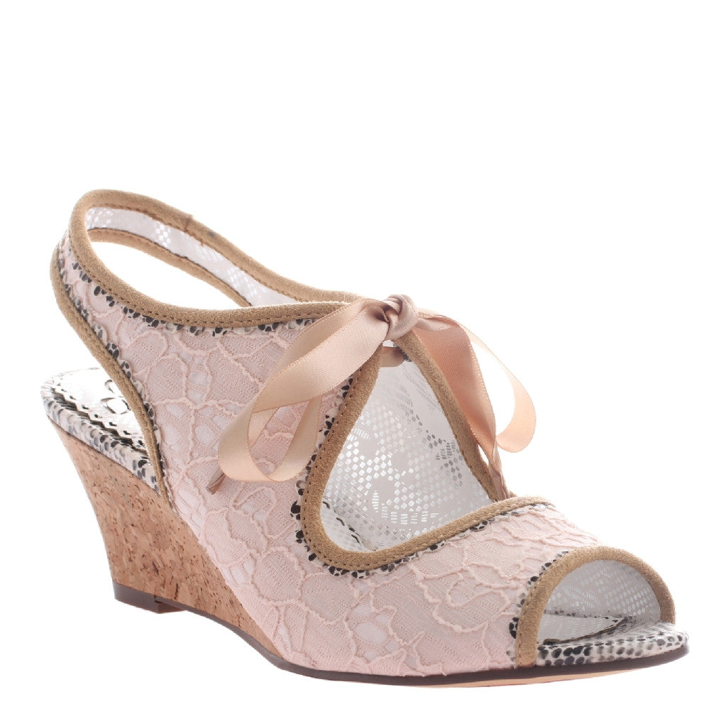 "Peach Pink ""Spanish Sunsets"" Lace Wedges"