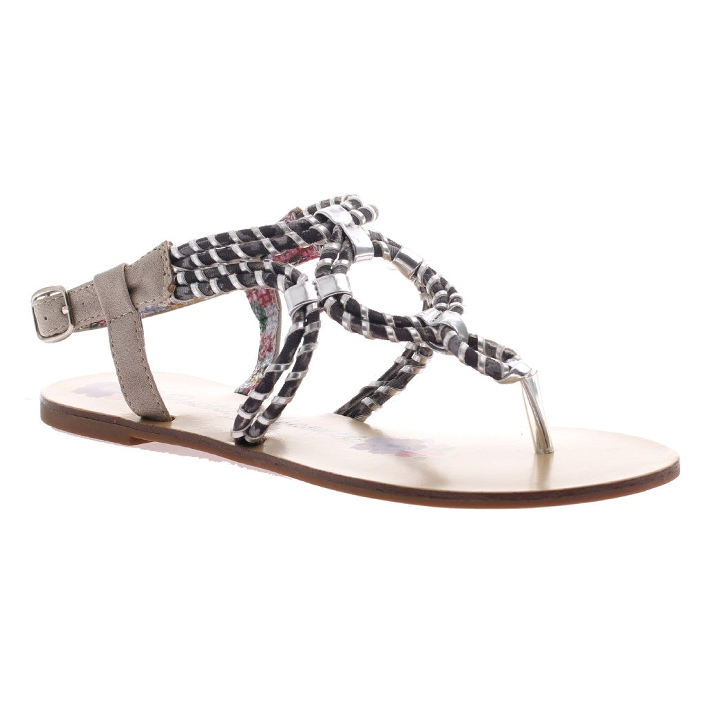 "Silver ""Hi and Mighty"" Rope Thong Sandals"