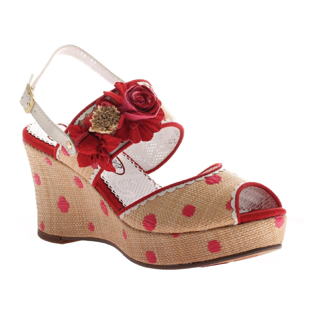 "Red ""Passing Time"" Polka Dot Wedge Sandals"