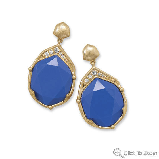 Brushed Gold with Blue Earrings