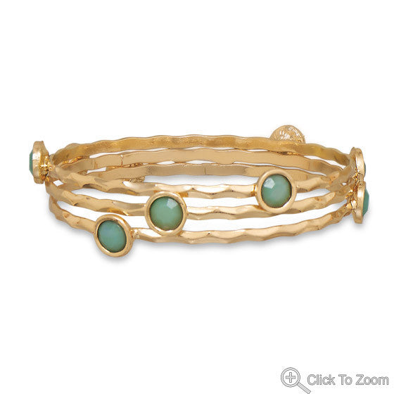 Set of Three Mint Bangle Bracelets
