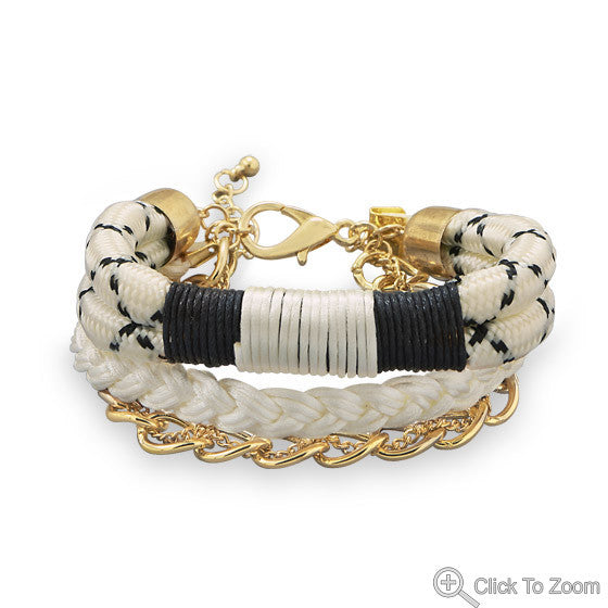 Ivory Satin Braided Bracelet