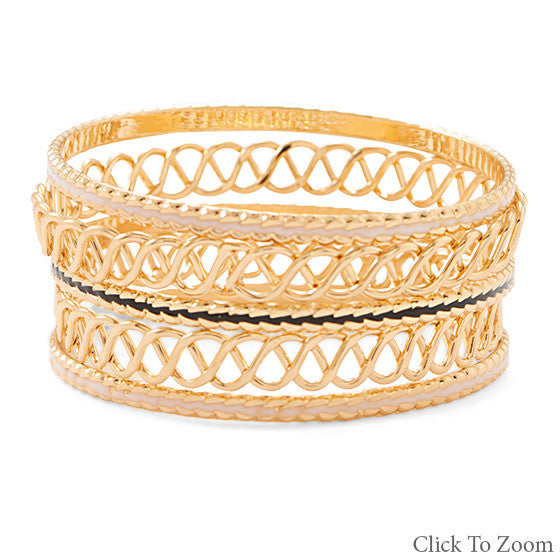 Set of 5 Gold Braided Bangles