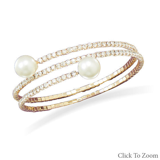 Crystal and Pearl Gold Bracelet