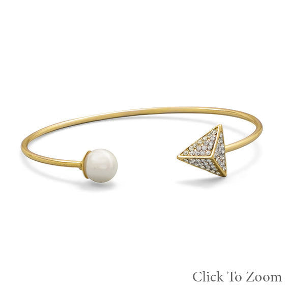 Pearl and Pyramid Gold Bracelet