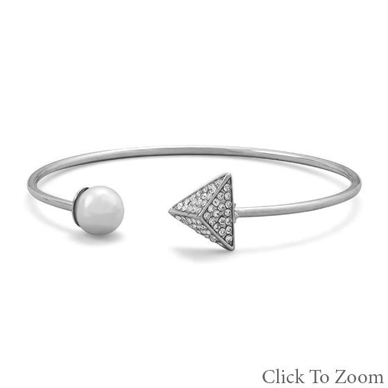 Pearl and Pyramid Silver Bracelet