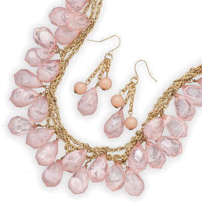 Pink Faceted Bead Drop Necklace and Earring Set