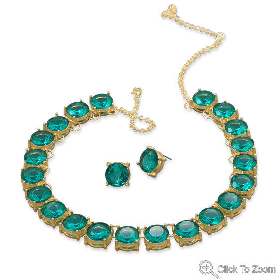 Teal Stone Necklace and Earring Set