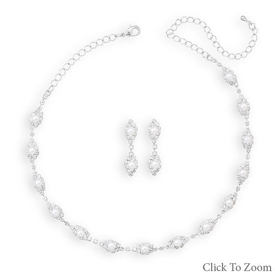 Elegant Marquise Necklace and Earring Set