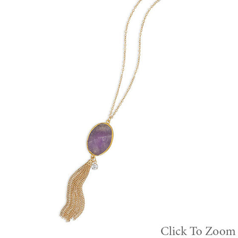 Amethyst Tassel Drop Necklace