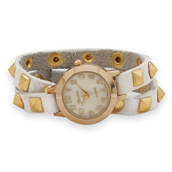Studded White Leather Watch