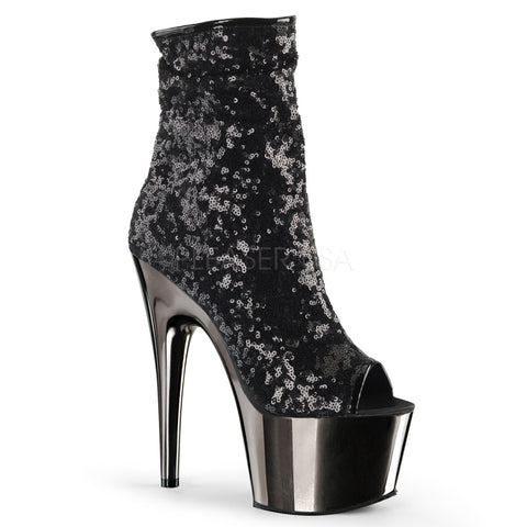 Chrome Platform Sequin Bootie