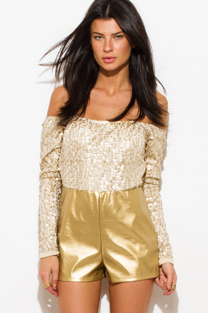 Victoria Off Shoulder Sequin Romper