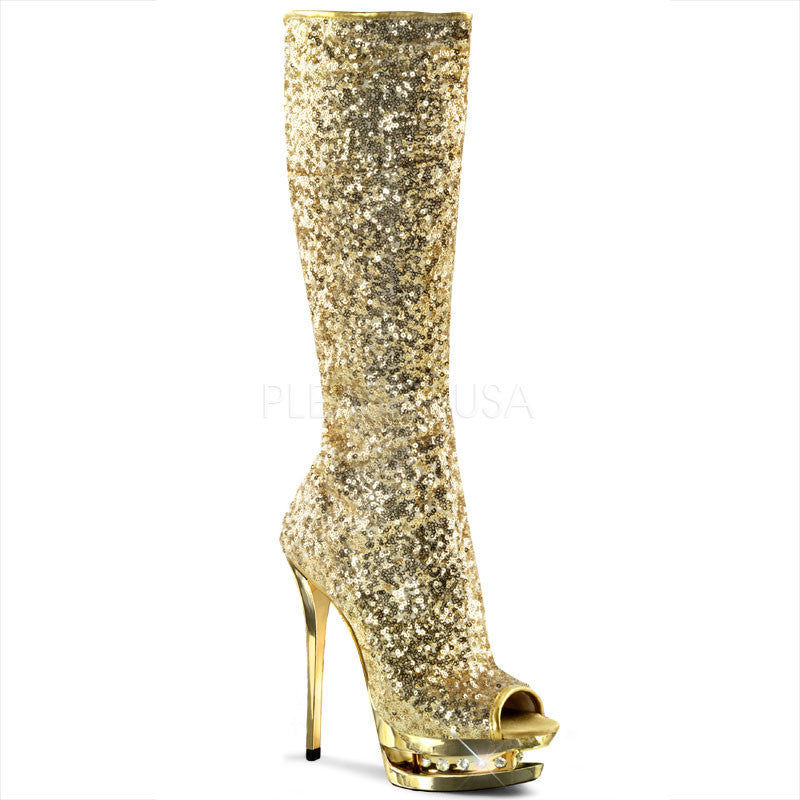 Diamond Sequin Knee High Boot