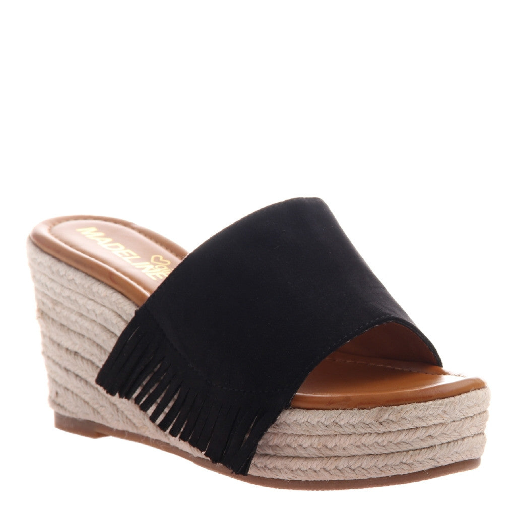 Savanah Black Fringe Wedge