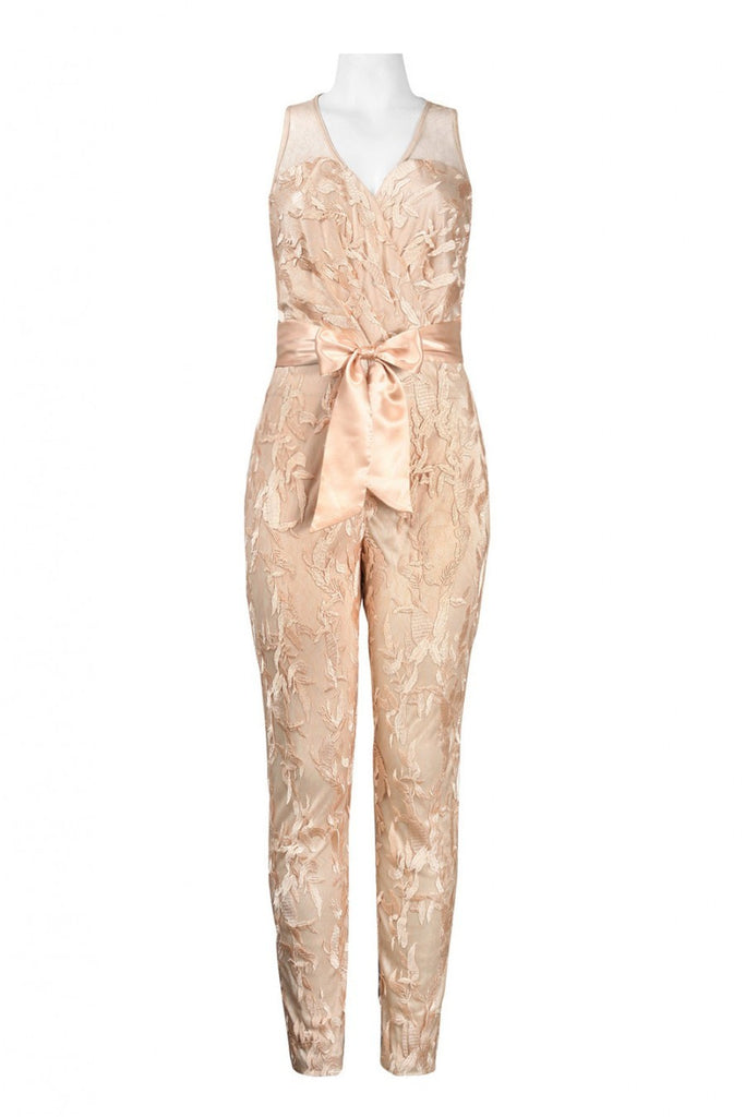 V-Cut Neckline Bow Tie Satin Embroidered Lace Jumpsuit