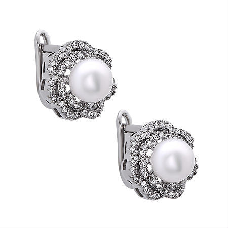 Pearl Rose Stud Earrings