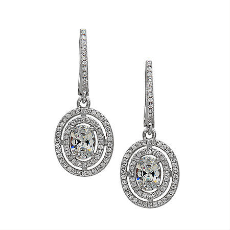Double Halo Drop Earrings