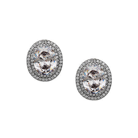 Oval Double Halo Stud Earrings