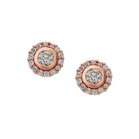 Rose Tone Stud Earrings