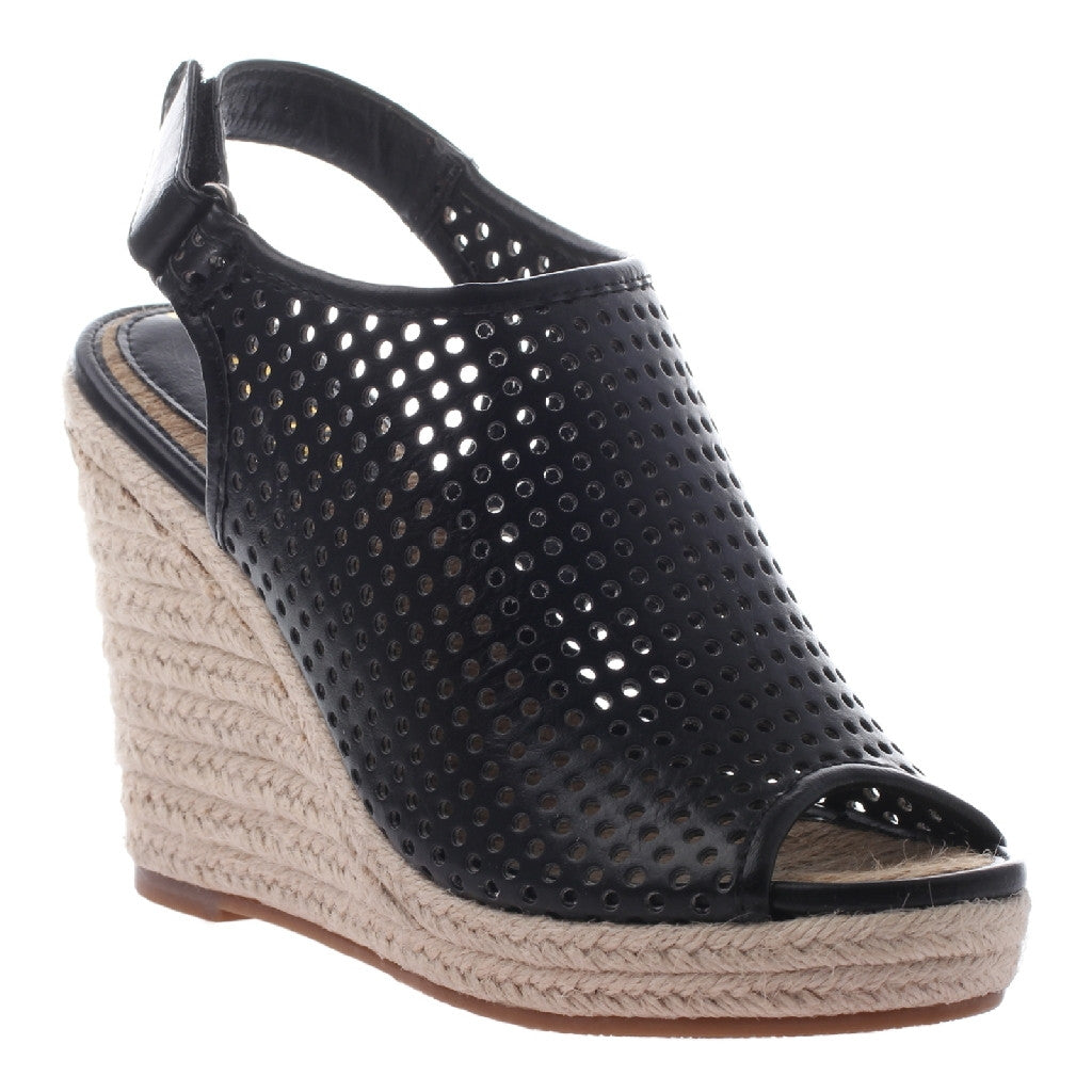 Darcy Black Perforated Wedges