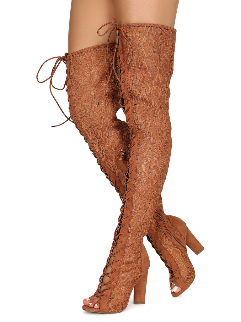 Lace-Up Over The Knee Boot