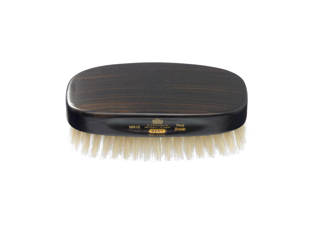 Rectangular, Ebony Wood, Pure White Bristle Hair Brush