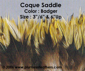 "Natural Strung Badger Saddle Feathers +4"" ½ Oz."