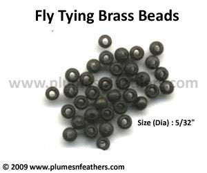 Fly Tying Brass Beads 'Black' L