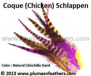 "Loose Grey Chinchilla Dyed Schlappen Feathers +8"" 5 Pcs."