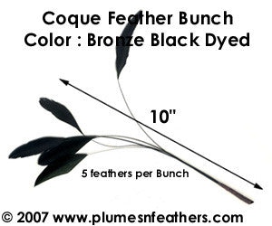 Milliner Feathers Coque Feather Bunch 10""