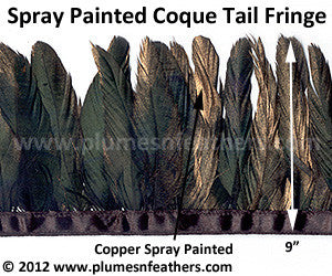 "Coque Tail Fringe 9"" Spray Painted"