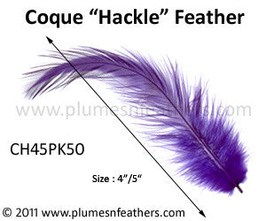 "Bleached White Or Dyed Loose Hackle Feathers +4"" 50Pcs."