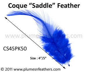 "Bleached White Or Dyed Loose Saddle Feathers +4"" 50Pcs."
