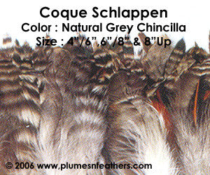 "Natural Strung Grey Chinchilla Schlappen Feathers +4"" ½ Oz."