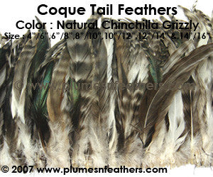 "Grey Chinchilla Strung Coque Tails 6""/8"" ½ Oz. Pack"
