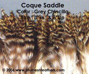 "Natural Strung Grey Chinchilla Saddle Feathers +5"" ½ Oz."