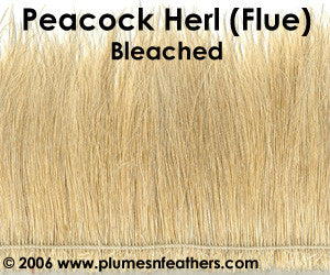"Peacock Herl (Flue) Bleached Strung 6""/8"""