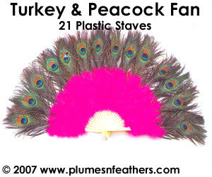 Turkey Marabou & Peacock Fan 16""