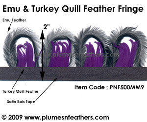 Emu & Turkey Quill Feather Fringe