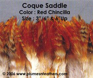 "Natural Strung Red Chinchilla Saddle Feathers +4"" ½ Oz."